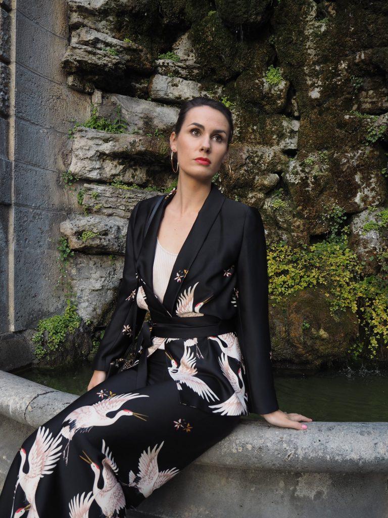 Kimono Blazer mit Bindegürtel und Kranichmuster